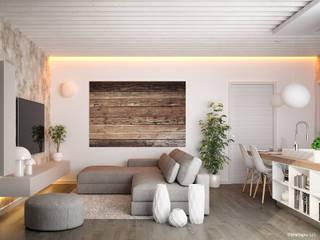 Appartamenti in legno - soggiorno: Soggiorno in stile  di Marlegno