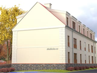 Elewacja szczytowa. : styl , w kategorii Dom wielorodzinny zaprojektowany przez 05PM-ARCHITEKT