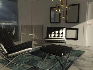 Pasillos, vestíbulos y escaleras de estilo minimalista de [GM+] Arquitectos Minimalista