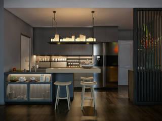 Masteri Thao Dien Apt. Nhà bếp phong cách nhiệt đới bởi BROS.studio Nhiệt đới
