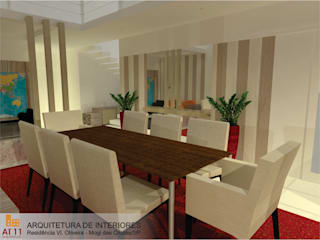 Arquitetura de  Interiores: Salas de jantar  por AT11 arquitetura,Eclético