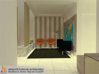 Arquitetura de  Interiores: Salas de estar  por AT11 arquitetura,Eclético