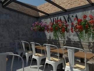 Restaurante Bianca & Latte Balcones y terrazas de estilo ecléctico de Bustos + Quintero arquitectos Ecléctico