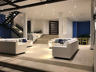 Casa Olarte Moure Anapoima Salones de estilo moderno de Arquitectos y Entorno S.A.S Moderno