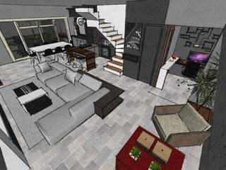 Imagem da maquete eletrônica da sala de estar/jantar:   por Duducirvidiu Arquitetura