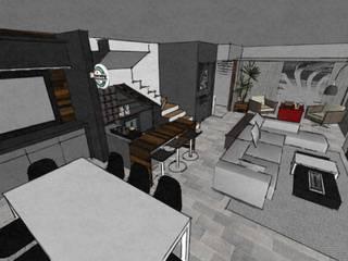Imagem da maquete eletrônica da sala de estar/jantar sob outro ângulo.:   por Duducirvidiu Arquitetura