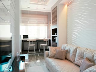 Функциональный проект квартиры в Путилково.: Гостиная в . Автор – Студия NATALYA SOLNTSEVA Interiors Design