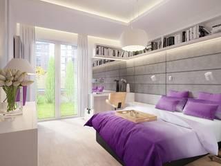 Aranżacja sypialni z miękkimi panelami Dappi Nowoczesna sypialnia od DAPPI Nowoczesny
