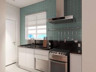 Living e cozinha de um Apartamento por Guilherme Zamariola Maquetes Eletrônicas Moderno