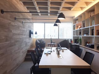 branco arquitetura Ruang Komersial Modern Beton