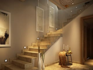 SODIC-WTR DUPLEX MOCKUP-MODERN CLASSIC Eclectic style corridor, hallway & stairs by INNOVATION DESIGN STUDIO Eclectic
