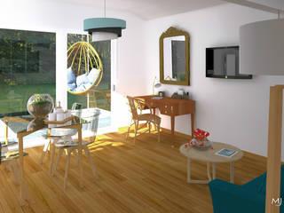 VERSION 1 - Le séjour: Salon de style de style Scandinave par MJ Intérieurs