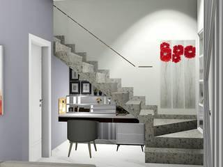 Casa decorada para venda ainda na planta: Corredores e halls de entrada  por Trivisio Consultoria e Projetos em 3D