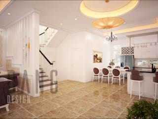 Asian style corridor, hallway & stairs by DCOR Asian