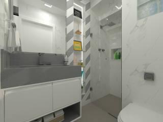 Banheiro Suíte Cinza e Branco Banheiros modernos por Juliana Lobo Arquitetura & Interiores Moderno