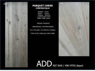 parquet contrecollé aspect bois flotté , lame large, finition huilée : Murs de style  par ADD