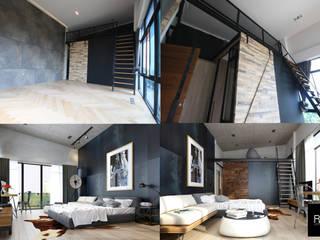 ห้องนอนสไตล์ Loft:   by ramรับออกแบบตกแต่งภายใน