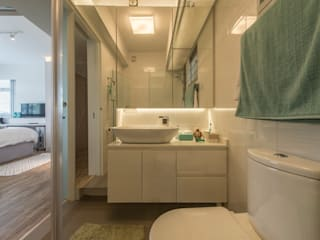 Design & Build: New HDB @ Sumang Link (Eclectic) Eclectic style bathroom by erstudio Pte Ltd Eclectic