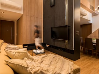 Design & Build: Condominium @ Eunos (Modern Scandinavian):  Living room by erstudio Pte Ltd