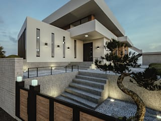 노후된 주택 리모델링 디자인-정원디자인: 디자인 이업의  정원