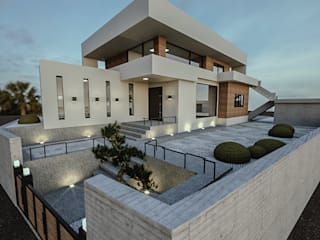 노후된 주택 리모델링 디자인-외부 파사드: 디자인 이업의  테라스 주택