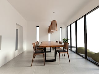 노후된 주택 리모델링 디자인-다이닝 룸 디자인: 디자인 이업의  다이닝 룸,모던 솔리드 우드 멀티 컬러