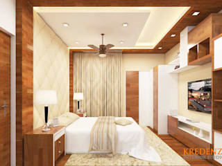 MASTER BEDROOM INTERIORS @ KRISHNA SHELTON:  Bedroom by Kredenza Interior Studios