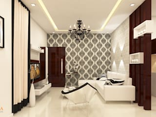 SHRI SAI SRUSHTI INTERIORS:  Living room by Kredenza Interior Studios