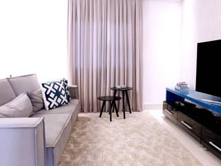 Apartamento Nova Petrópolis - São Bernardo do Campo Haus Brasil Arquitetura e Interiores Salas de estar rústicas Derivados de madeira Azul