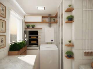 Lavanderia | Espaços pequenos Cozinhas modernas por PONTO ARQ. ARQUITETURA E URBANISMO Moderno