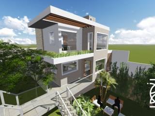 Residência B. B.: Casas familiares  por TELLUS ARQUITETURA SUSTENTÁVEL,Moderno