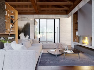 Интерьер жилого дома в Камышевахе: Гостиная в . Автор – Архитектурная студия Чадо