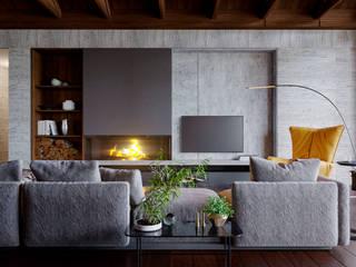 Интерьер гостиной в частном доме: Гостиная в . Автор – Архитектурная студия Чадо