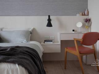 新竹-日知味:自友章-吳宅:  臥室 by 極簡室內設計 Simple Design Studio