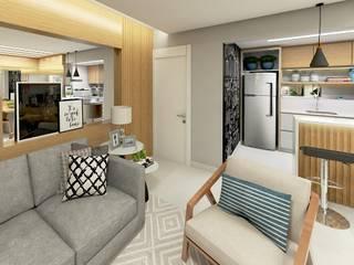 Apartamento: Salas de estar  por Letícia Saldanha Arquitetura