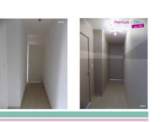 le couloir donnant aux chambres et SDB:  de style  par Peinture & Déco Par Éli