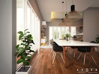 aksen architectural visualization Modern dining room Solid Wood Wood effect