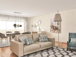 Projectos em 3D : Salas de estar  por MY STUDIO HOME - Design de Interiores