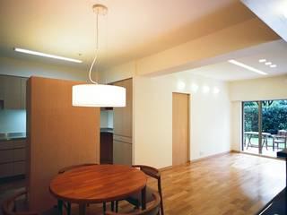 流れる家: 麻生建築設計工房が手掛けたダイニングです。