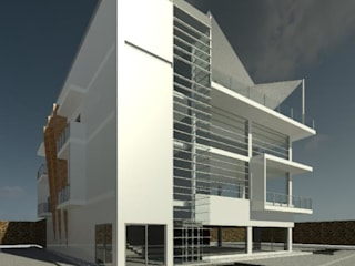 FACHADA SUR: Estudios y oficinas de estilo moderno por IGAC Ingeniería Geotécnica Arquitectura y Construcción
