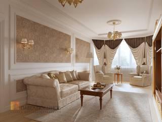 Дизайн интерьера 4-комнатной квартиры в классическом стиле, 204 м.кв. : Гостиная в . Автор – Студия Павла Полынова, Классический