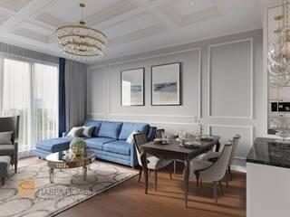 Дизайн интерьера 3-комнатной квартиры 96 кв.м. в ЖК «Привилегия», стиль неоклассика: Гостиная в . Автор – Студия Павла Полынова, Классический