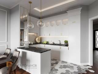 Дизайн интерьера 3-комнатной квартиры 96 кв.м. в ЖК «Привилегия», стиль неоклассика: Кухни в . Автор – Студия Павла Полынова, Классический