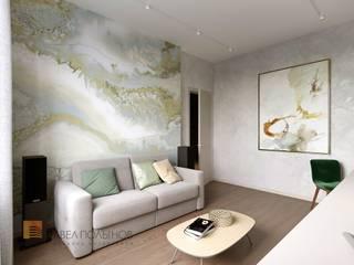 Дизайн интерьера 2-комнатной квартиры 80 кв.м. в современном стиле, ЖК «Duderhof Club» : Гостиная в . Автор – Студия Павла Полынова, Минимализм