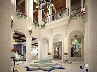 Luxury palace interior design and decor in Dubai Classic style corridor, hallway and stairs by Spazio Interior Decoration LLC Classic