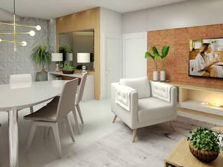 Hall | Estar | Jantar : Salas de estar  por Letícia Saldanha Arquitetura
