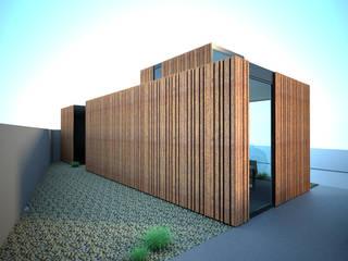 O contentor de aço corten: Stands de automóveis  por Atelier 72 - Arquitetura, Lda