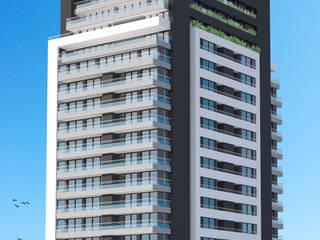 El edificio - 86 departamentos de 1, 2 y 3 dormitorios:  de estilo  por Akros S.R.L.