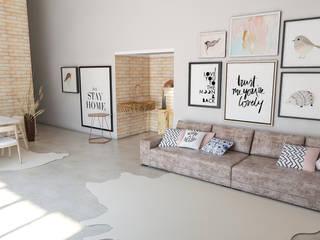Sala de estar 50m² Design escandinavo : Salas de estar  por Carolina Mendes Arquiteta,Escandinavo