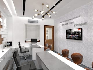 Ravi Prakash Architect Modern style study/office Plywood White